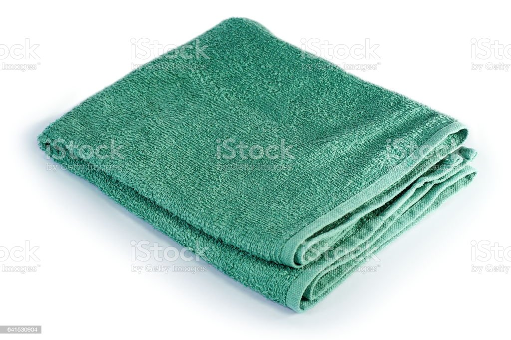 green towel over white stock photo
