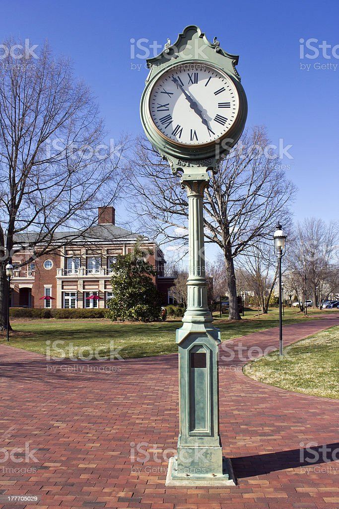 Green Town Square Clock stock photo