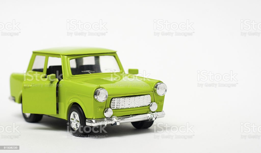 Green toy car stock photo