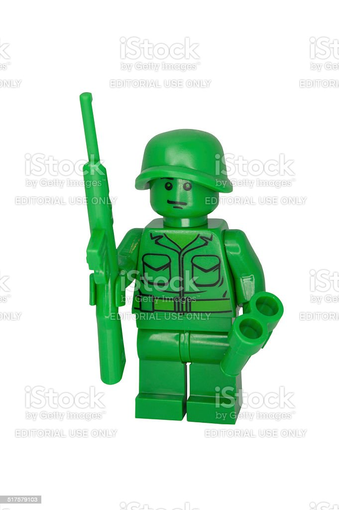 Green Toy Soldier Minifigure stock photo