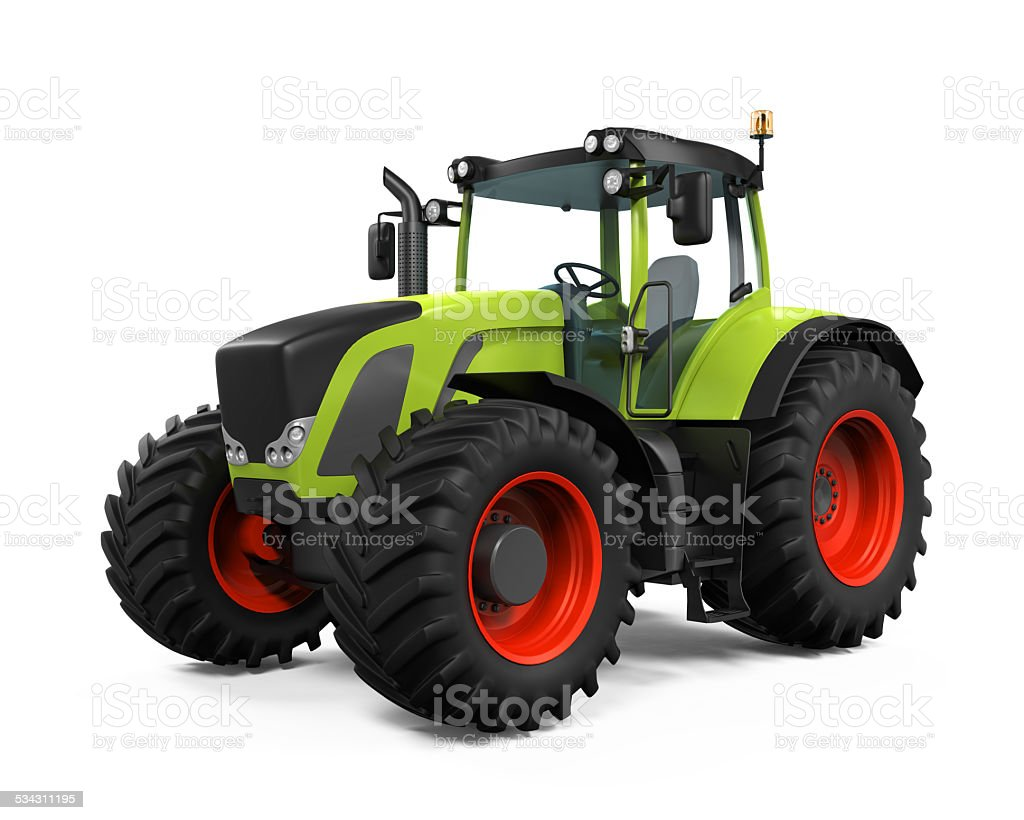 Green Tractor Isolated stock photo