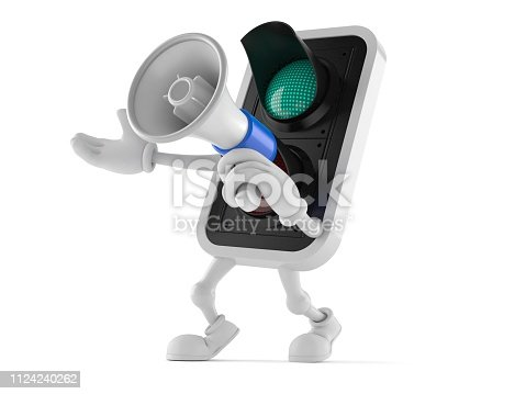 Green traffic light character speaking through a megaphone isolated on white background. 3d illustration