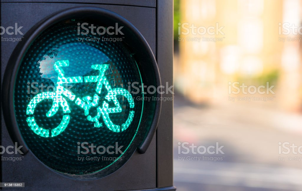 Green traffic light for cyclists stock photo