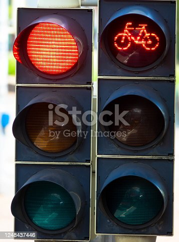 Red traffic light for cyclists and car drivers