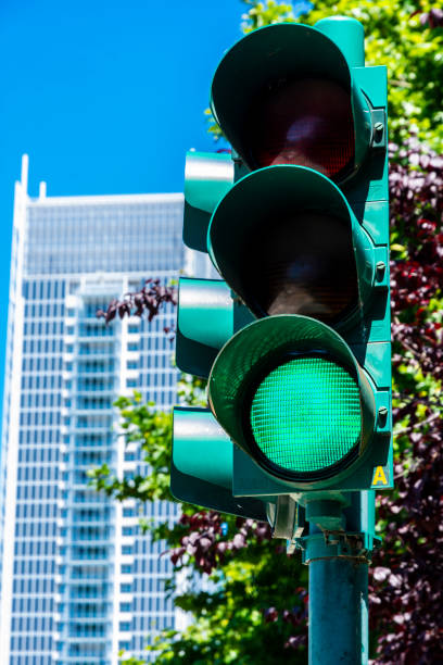 Green traffic light in Turin (Piedmont, Italy). stock photo