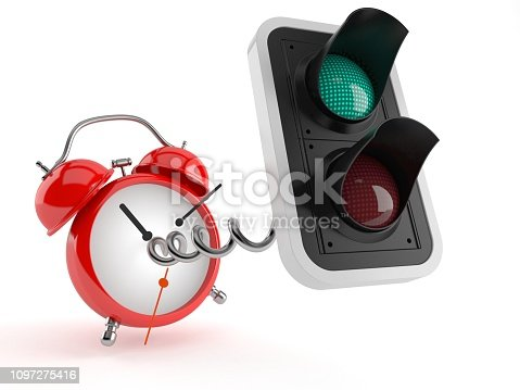 Green traffic light with alarm clock isolated on white background. 3d illustration