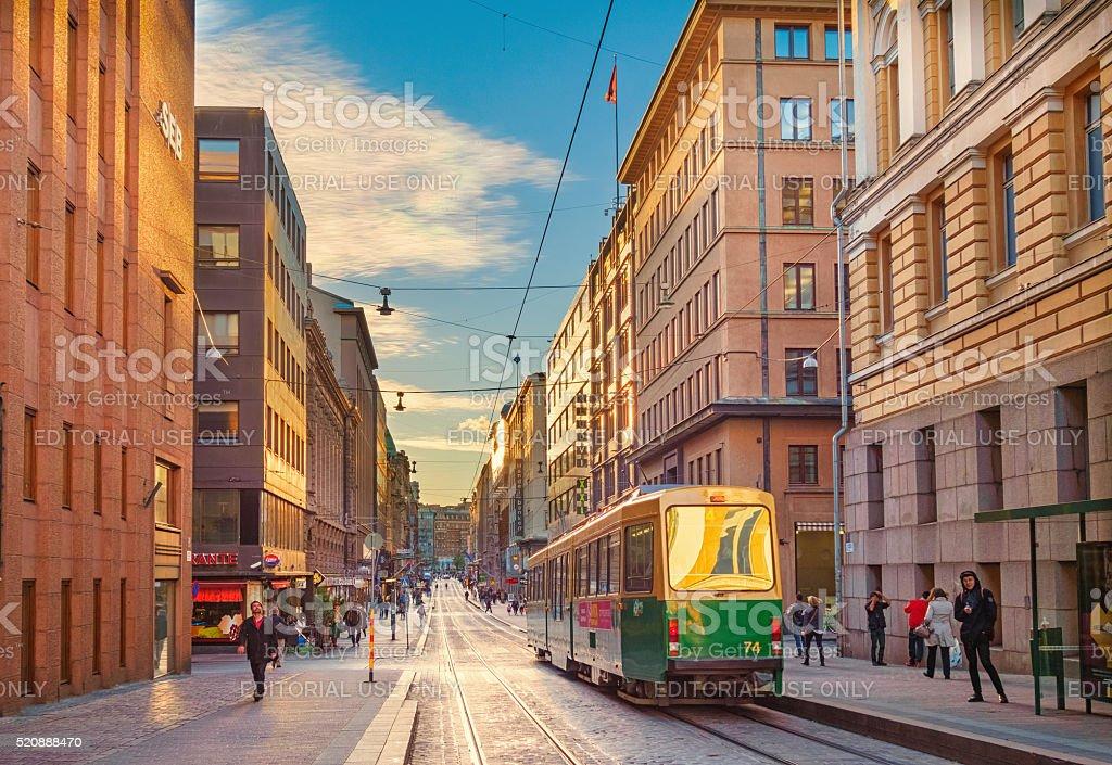 Green Tram at Aleksanterinkatu in Downtown Helsinki Finland stock photo