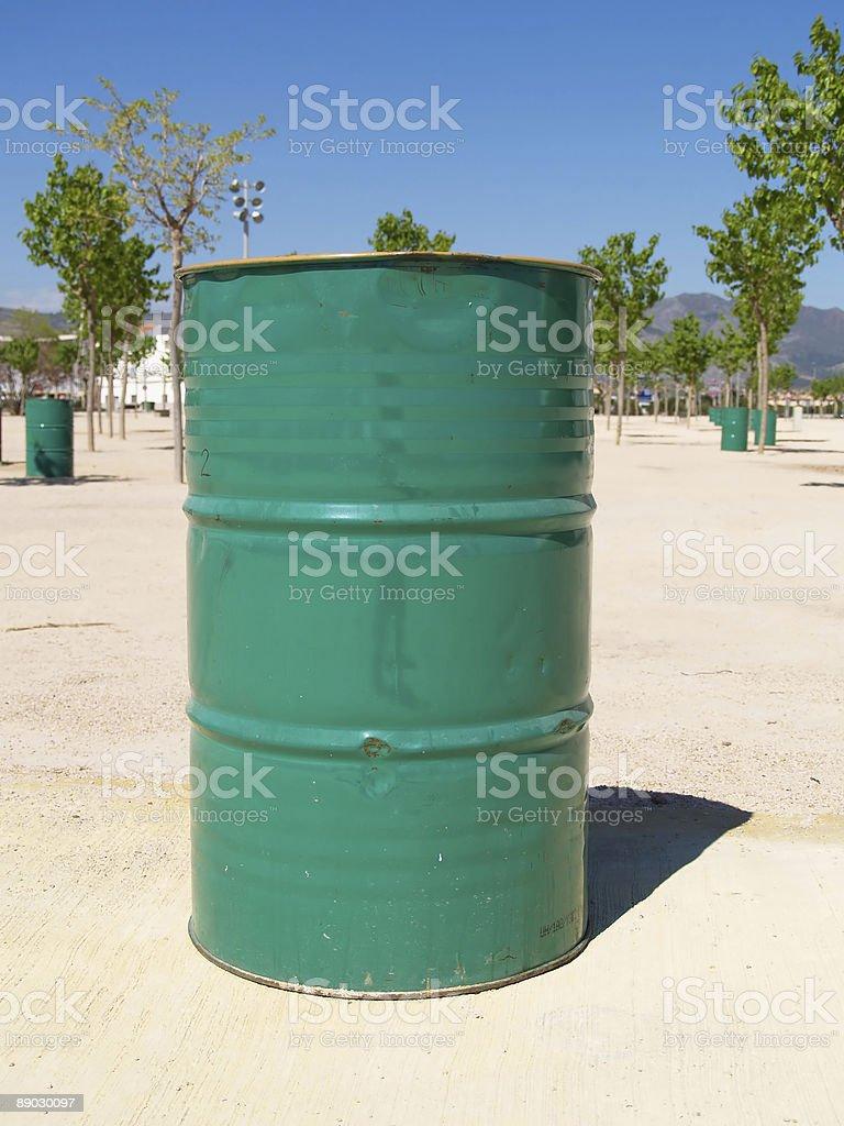 Green trash can royalty-free stock photo