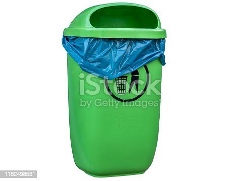 istock Green trashcan isolated on white background 1182498531