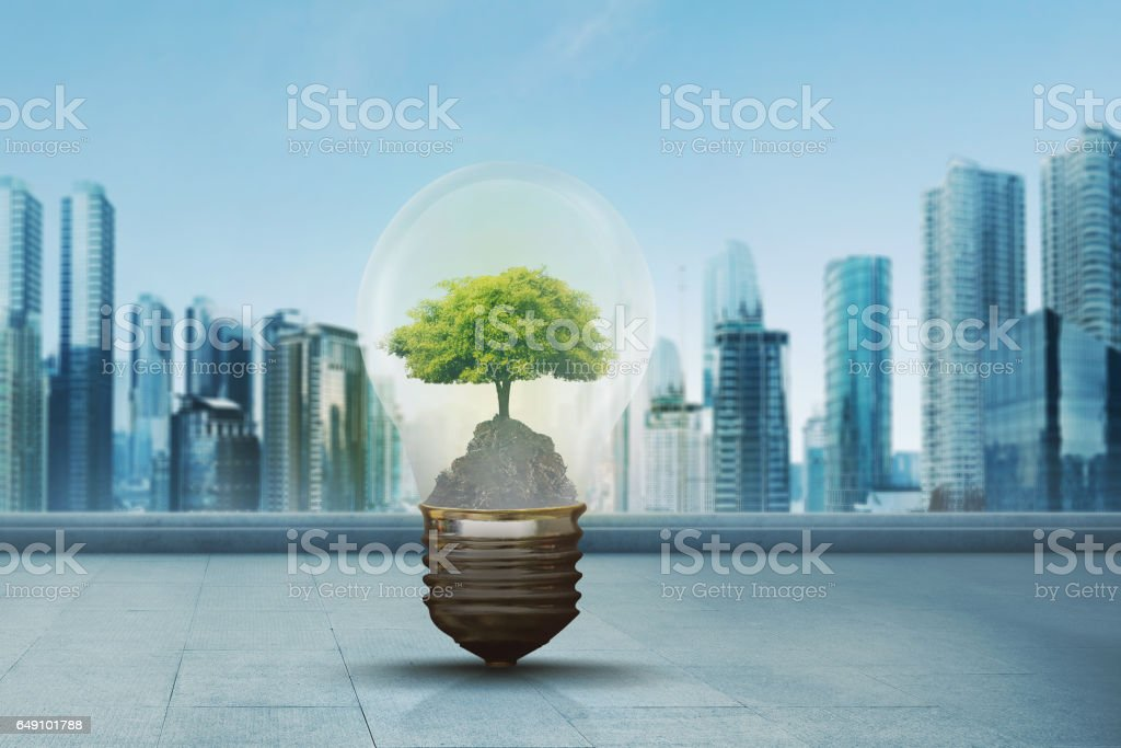 Green tree inside light bulb against modern city stock photo