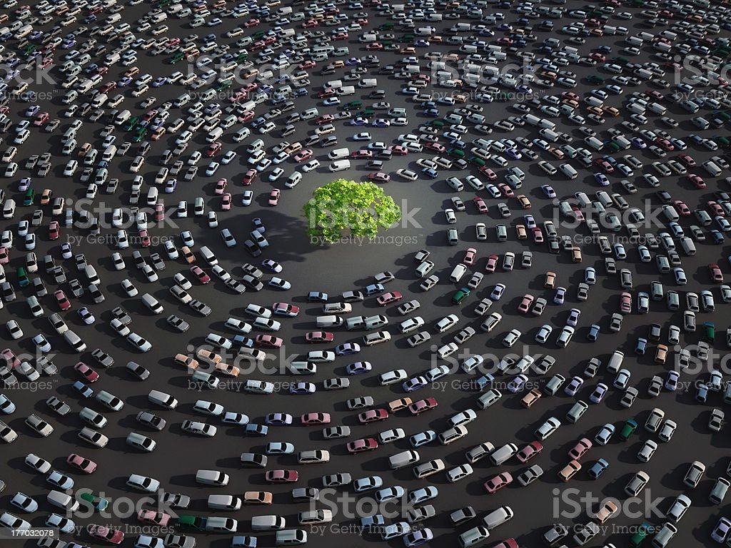 green tree surrounded by cars stock photo