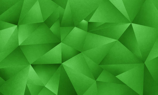 green triangle geometric background - green background stock photos and pictures