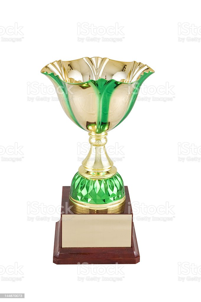 green trophy cup stock photo