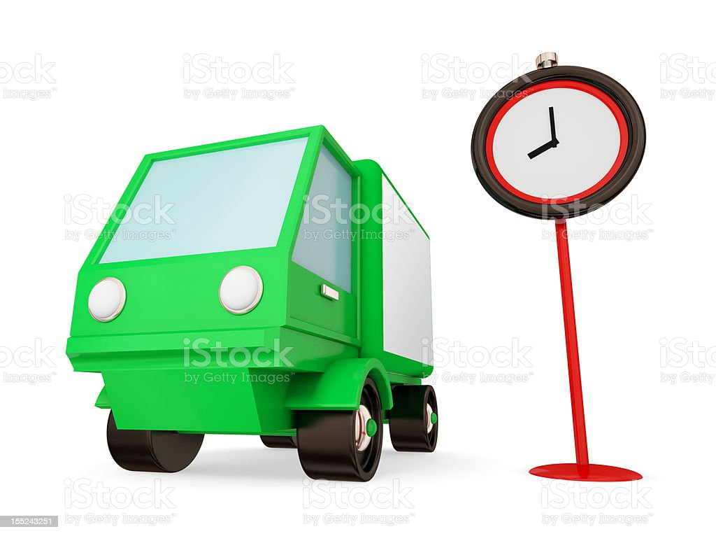 Green truck and red timer. royalty-free stock photo