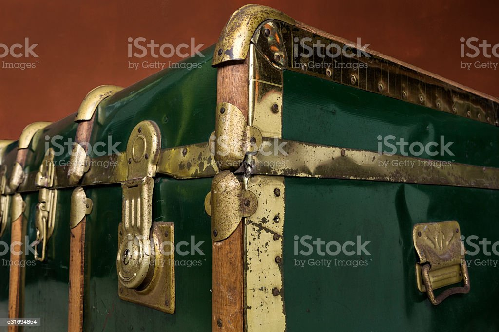Green trunk perspective stock photo