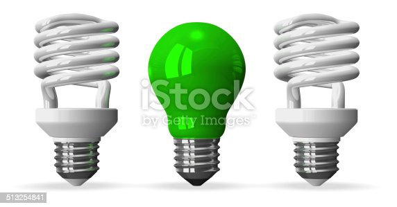 637573406istockphoto Green tungsten light bulb and two white spiral ones 513254841