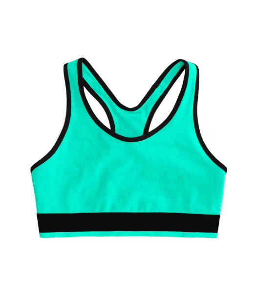 vert néon turquoise racerback sport soutien-gorge top, isolé sur fond blanc - brassière de sport photos et images de collection