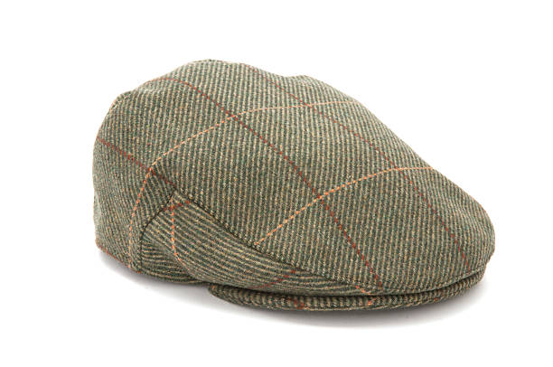 Green Tweed Hunting Flat Cap stock photo