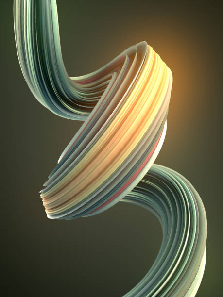 Green twisted shape. Computer generated abstract geometric 3D render illustration stock photo