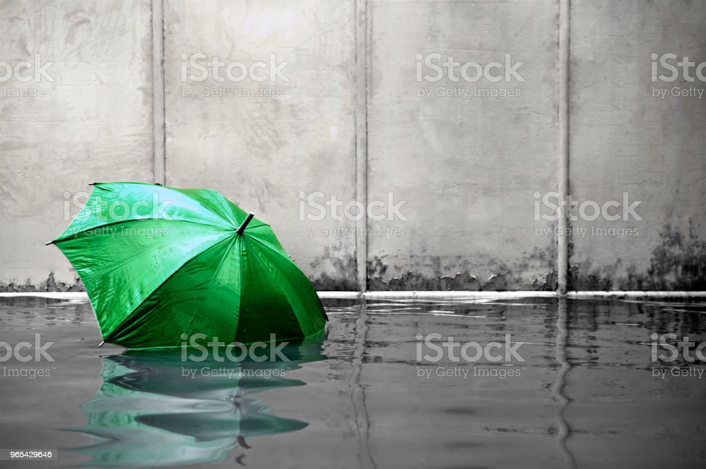 Green umbrella floating concept. Flooded on street.  Waiting for help me after the rain. Black and white colors. Close up. royalty-free stock photo