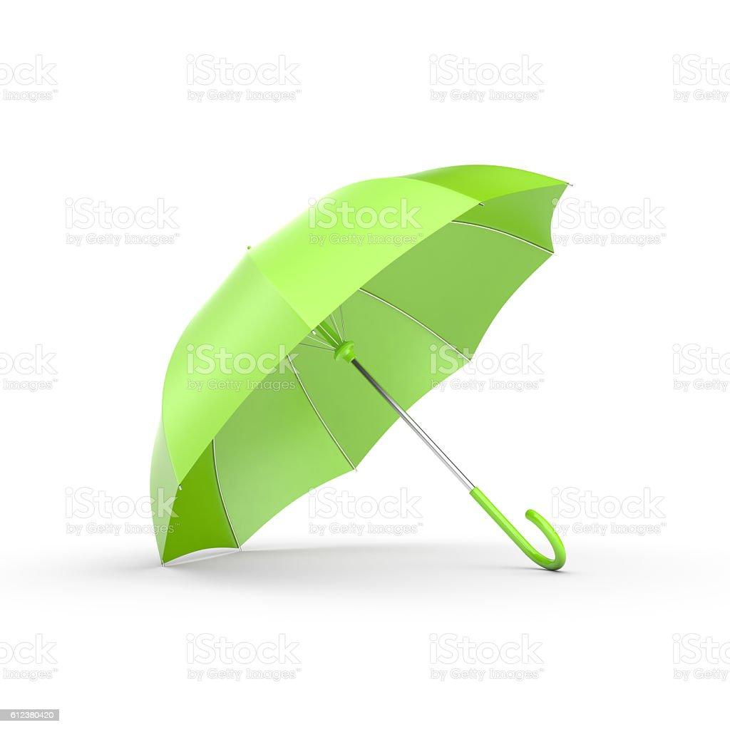 Green umbrella on white. stock photo