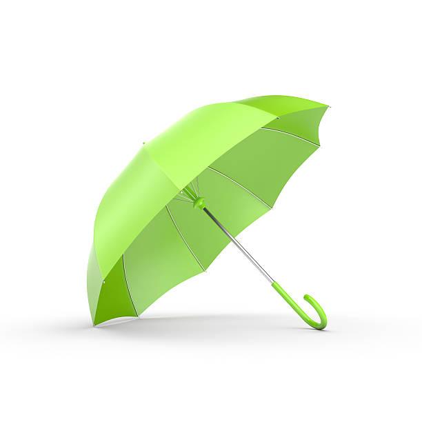 Green umbrella on white. - Photo