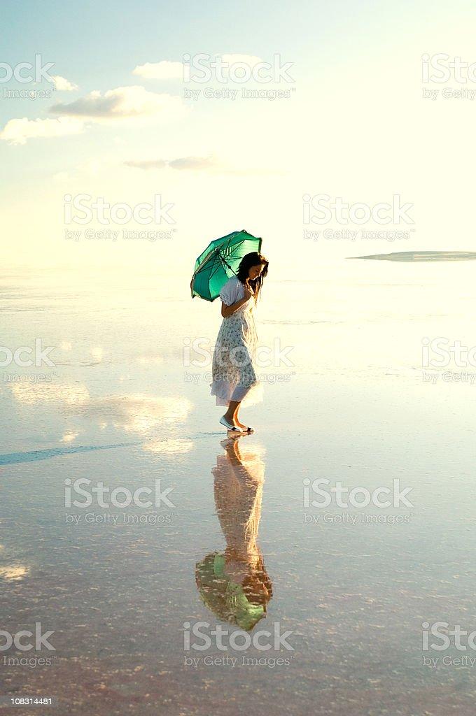green umbrella royalty-free stock photo