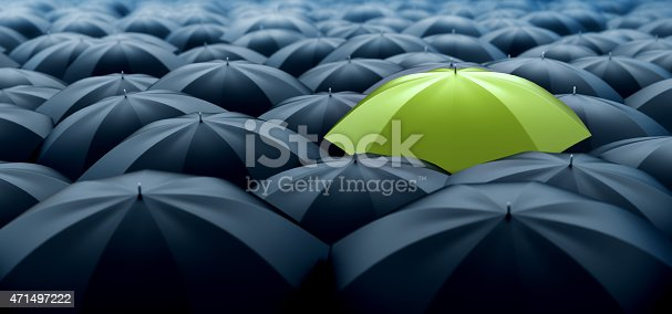 Improved, better and bigger size image of different, leader, best, unique, boss, individuality, original, special, worst, first, chief, champion and discrimination concept. Green umbrella in a row of white ones