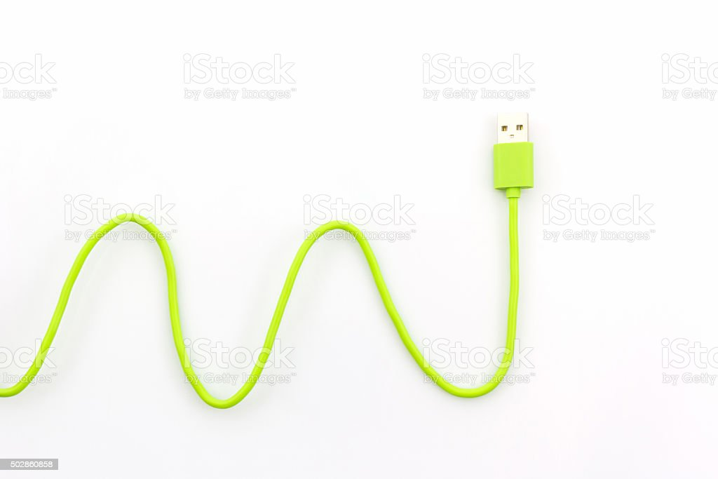 Green USB cable for smartphone. stock photo