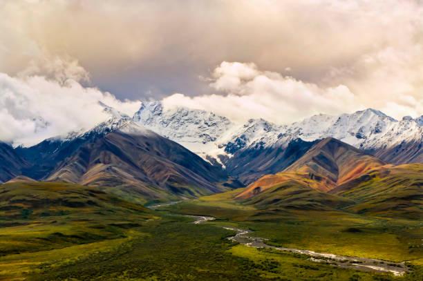 緑の谷とデナリの polycrhrome 山 - ツンドラ ストックフォトと画像