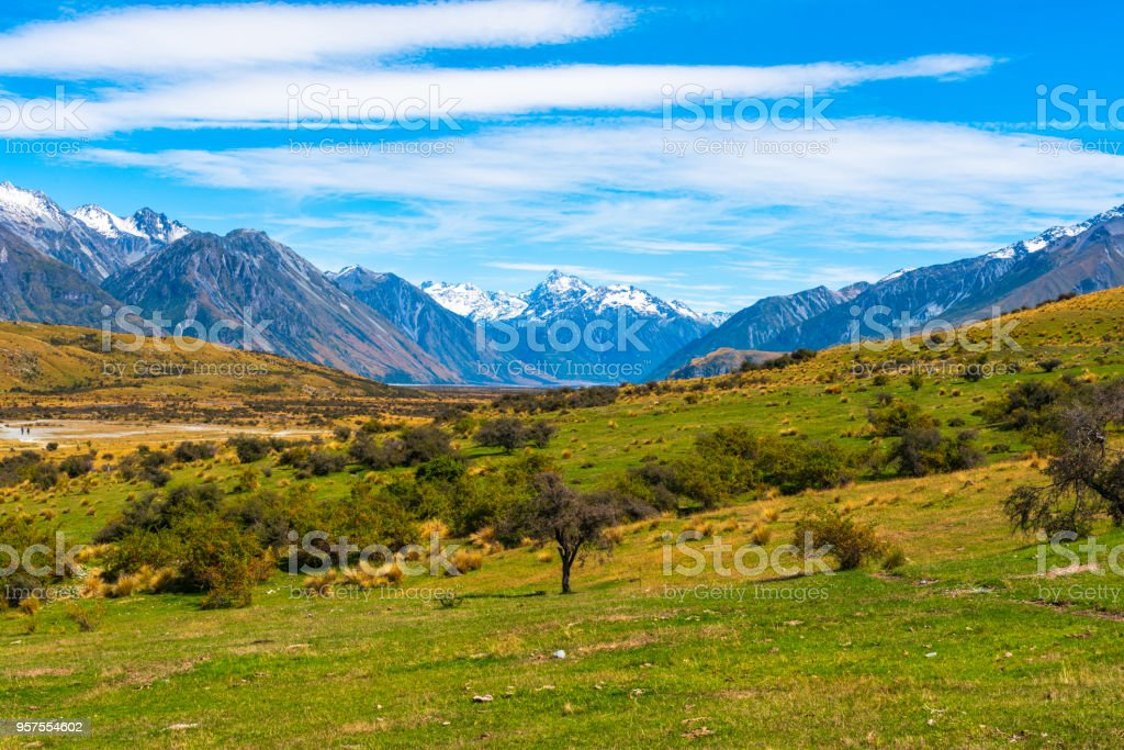 Green Valley and Sbowcapped Mountains stock photo