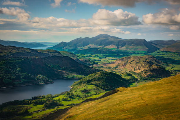 Green valley and Thirlmere Lake is seen from Helvellyn in the English Lake District, sunny day, hills and mountains, forest and the visible horizon – zdjęcie