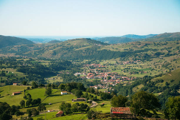 Green valley in Cantabria, Spain stock photo