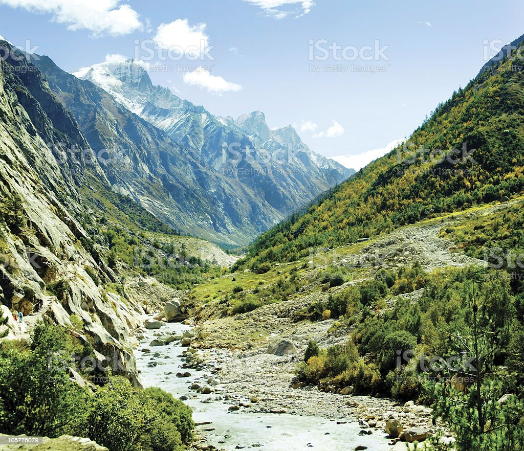 Green valley of river Ganga in Himalyas royalty-free stock photo
