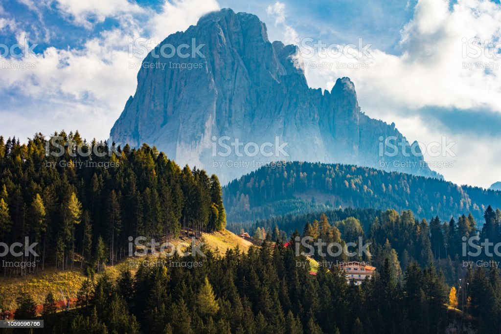 Green Valley of South Tyrol stock photo