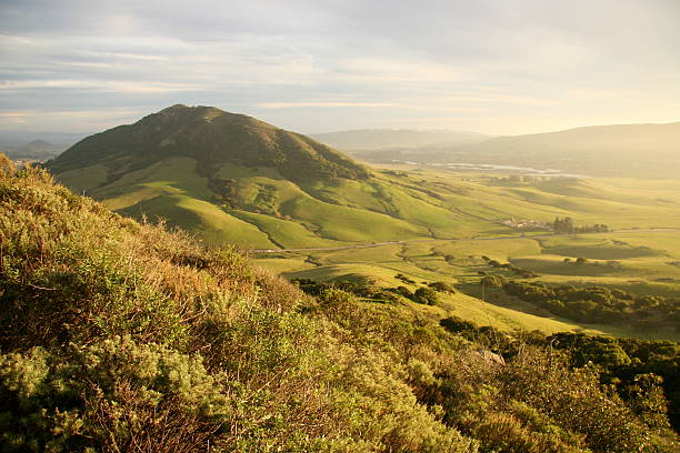 green valley with mountain - central coast california stock photos and pictures