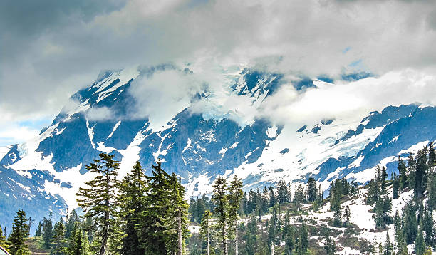 Green vales e picos cobertos de neve de Baker vulcão - foto de acervo