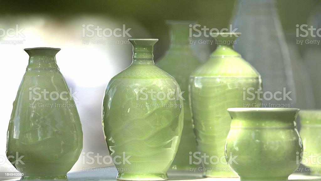 Green vases stock photo