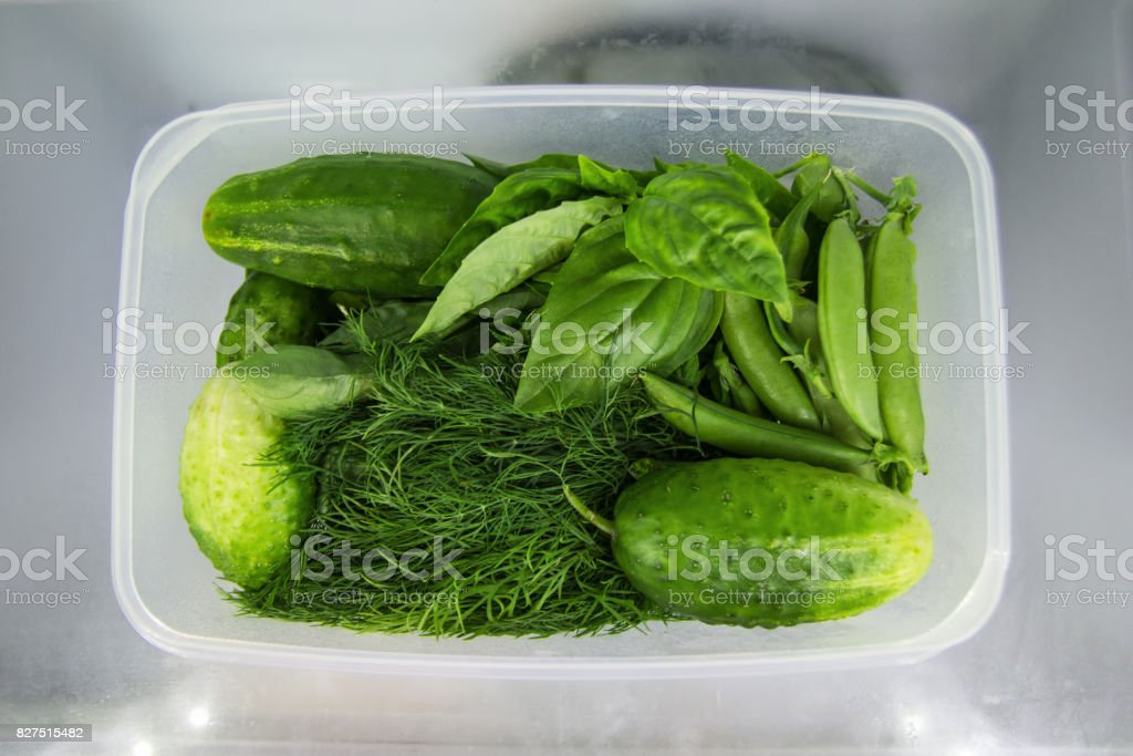 Green vegetable (basil, dill, sorrel, peas, cucumber) in the plastic food container on a shelf of a fridge. stock photo
