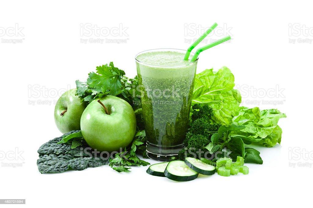 Green vegetable juice isolated on white background stock photo