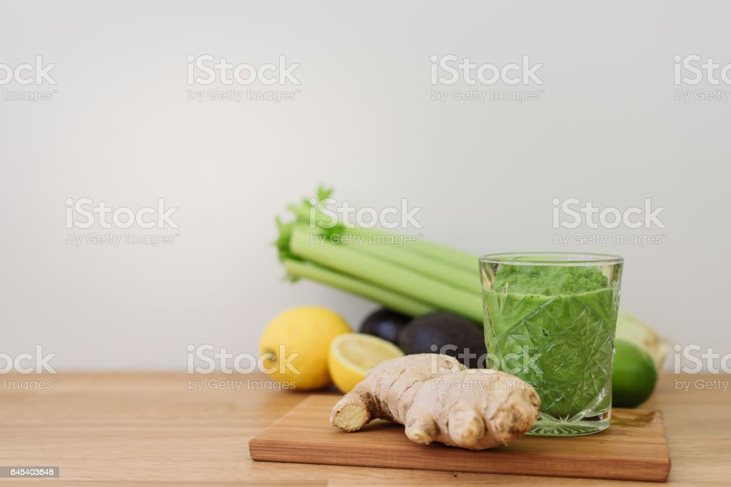 Green vegetable smoothie healthy eating stock photo