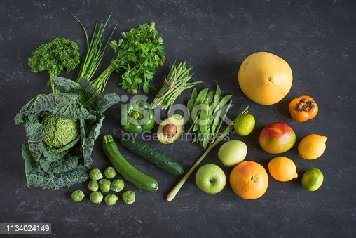 istock Green vegetables and exotic fruits 1134024149