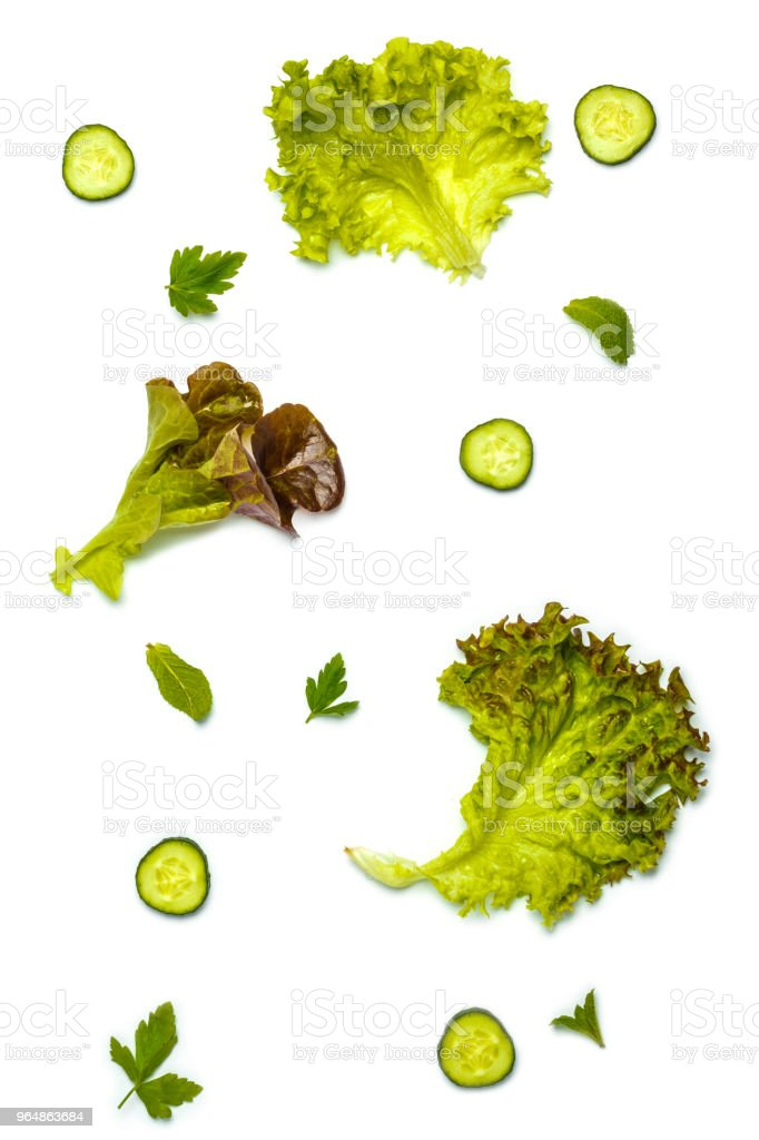 Green vegetables background, isolated on white. Healthy vegan lifestyle concept. royalty-free stock photo