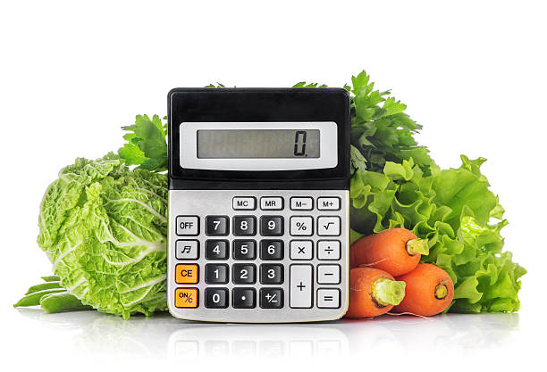 Green vegetables, calculator isolated on a white stock photo