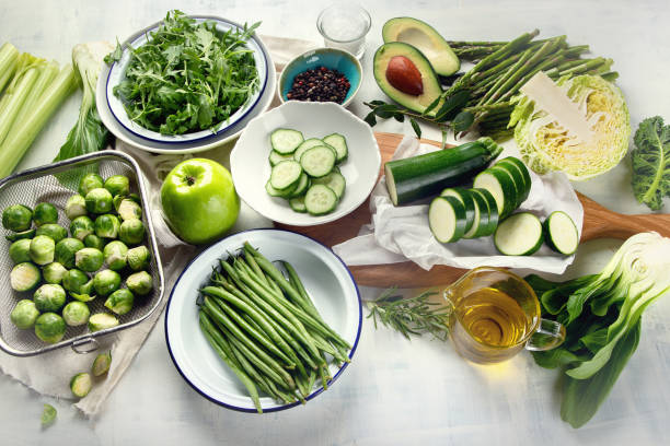 Green vegetables for healthy cooking stock photo