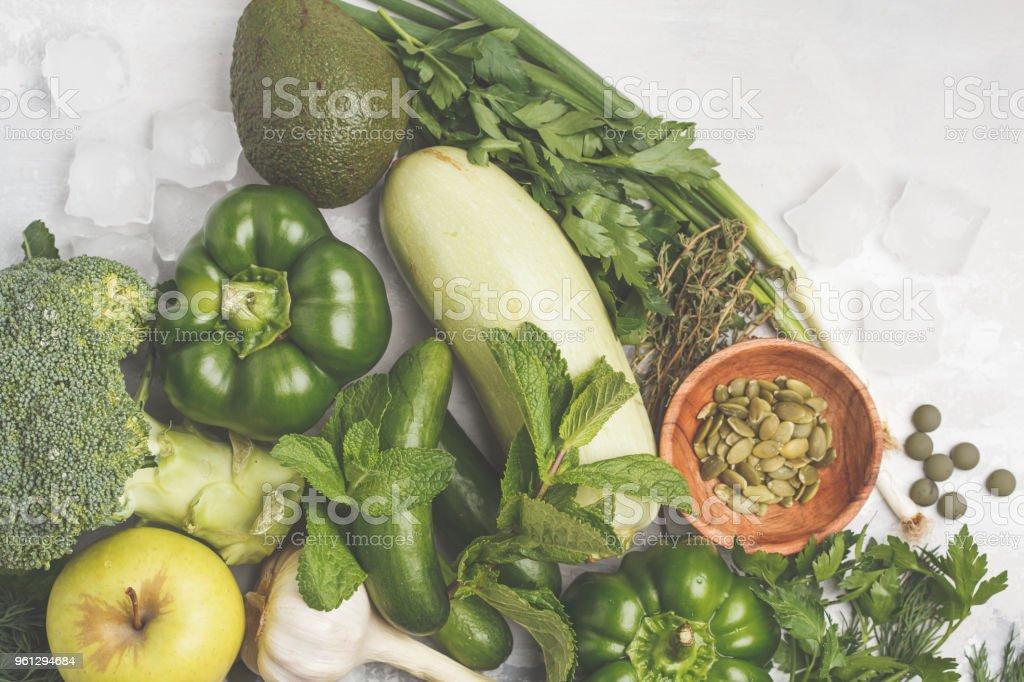 Green vegetables on a white background. Vegetable vegan diet food...