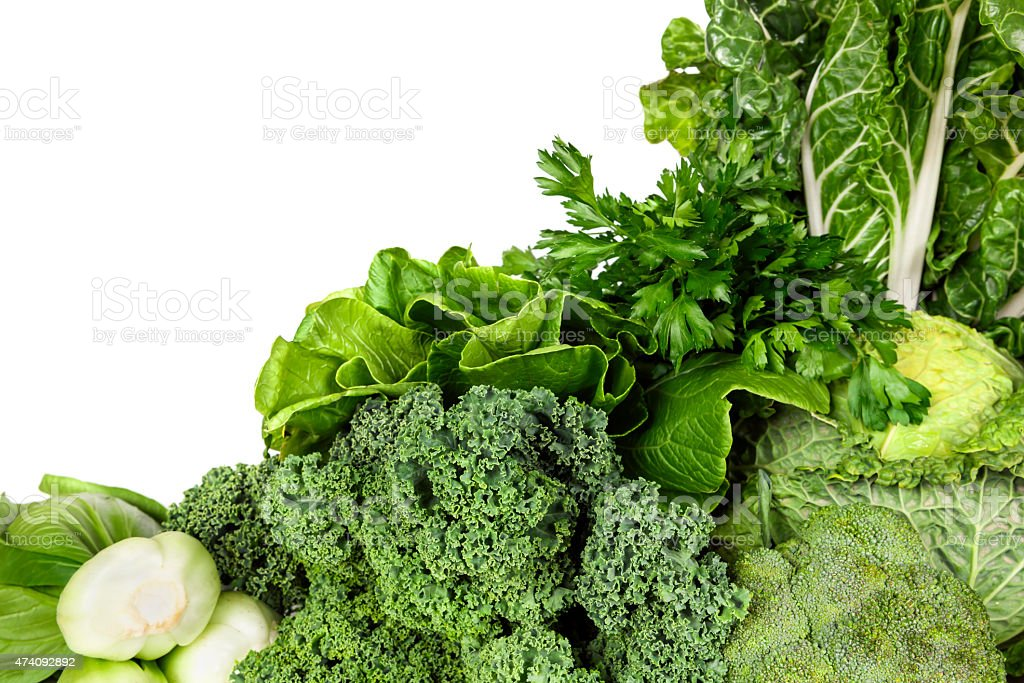 Green Vegetables over White Background stock photo