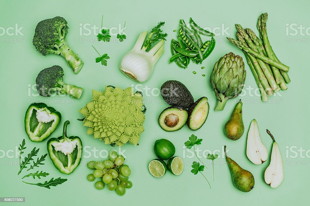 Green vegetables shoot from above over head - foto de acervo