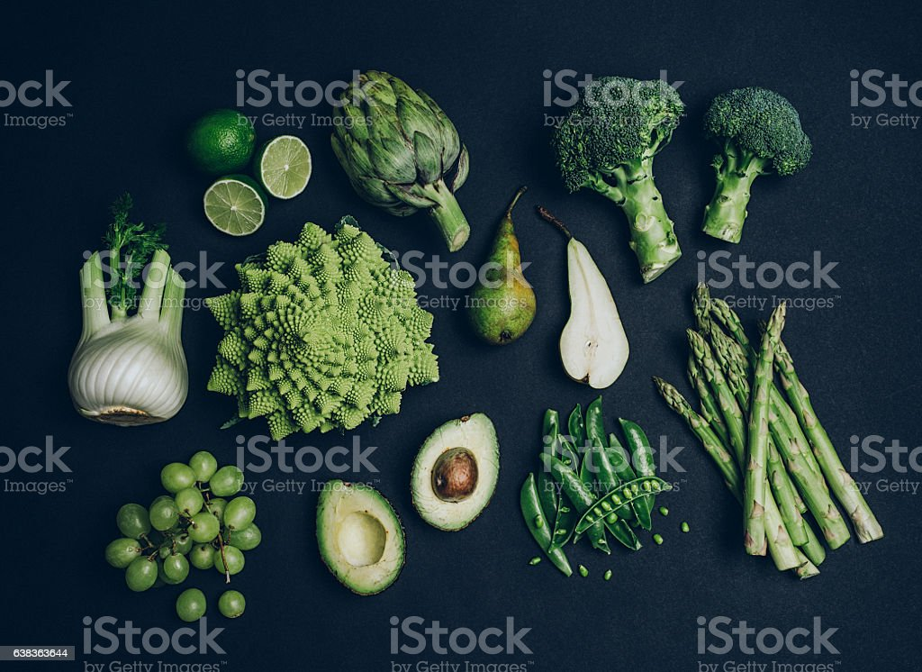 Green vegetables shoot from above over head stock photo