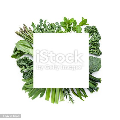Detox food: Top view of a large group of green vegetables shot on white background. A blank card with useful copy space for text and/or logo is at the center of the frame placed over the vegetables. Vegetables of food included in the composition are asparagus, arugula, mint, broccoli, cucumber, rosemary, celery, green beans, kale, bok choy  and others. Predominant colors are green and white. DSRL studio photo taken with Canon EOS 5D Mk II and Canon EF 70-200mm f/2.8L IS II USM Telephoto Zoom Lens